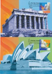 Australia Maximum Cards: APMX 180 Greece Joint Issue set of 2